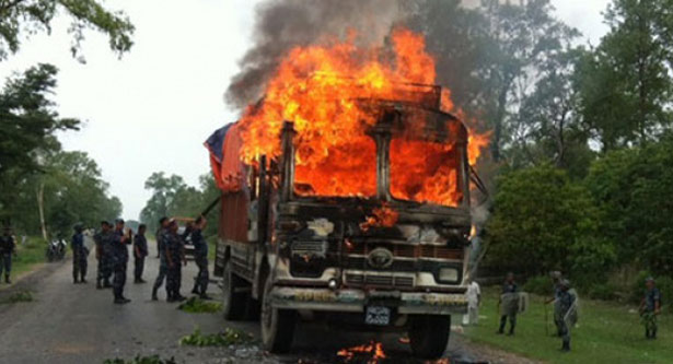 Truck torched in Sherpur