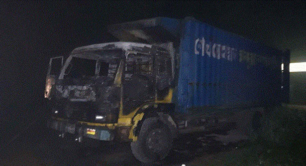 Covered-van torched in Feni