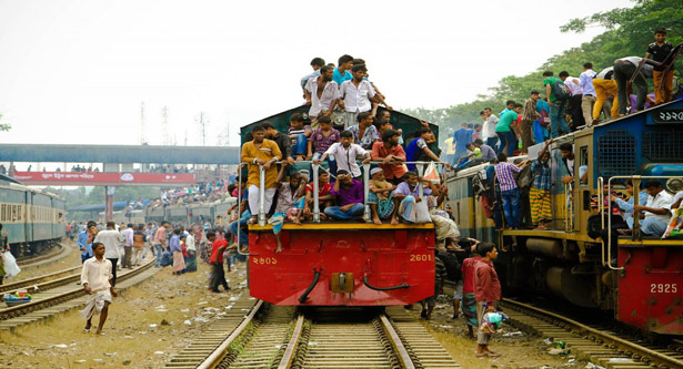 4 die falling off train roof in Naogaon