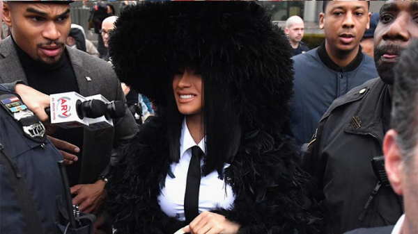 Cardi B speaking to reporters at the court premises; Photo: AFP