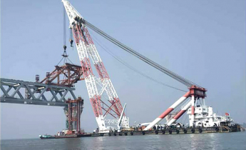 22nd span installed; Padma Bridge's 3.3km visible