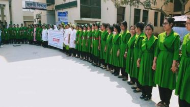 SSKMC Nurses' human chain against sexual bother