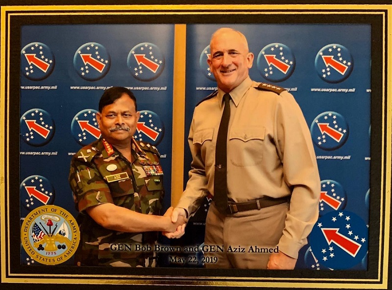 General Aziz Ahmed with US Army Pacific Commander General Robert B. Brown