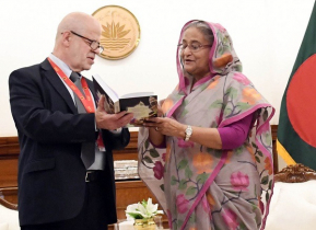 PM receives Russian translated books on Bangabandhu-Sheikh Hasina