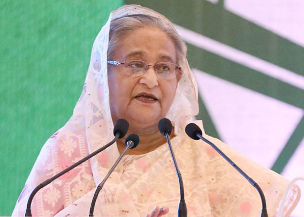 "Prime Minister Sheikh Hasina was addressing the opening ceremony of the three-day ""Dhaka Global Dialogue-2019"" at a hotel in Dhaka on Monday. Photo: Focus Bangla"