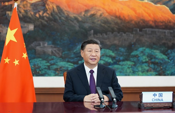 China's President Xi Jinping delivers a speech via video from Beijing to a high-level meeting in honor of the United Nations` 75th anniversary on Monday; Photo: Xinhua