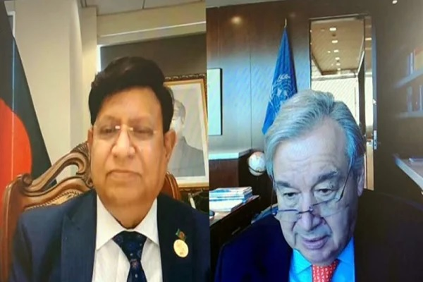 Foreign Minister Dr. AK Abdul Momen held a virtual meeting with UN Secretary-General Antonio Guterres