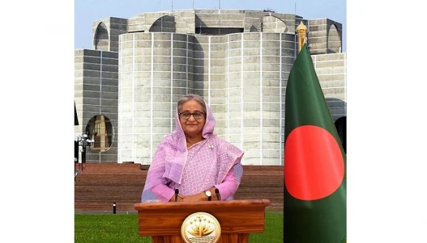 Prime Minister Sheikh Hasina today addressed the nation on the occasion of completing two years of her third-term government. Photo: PID