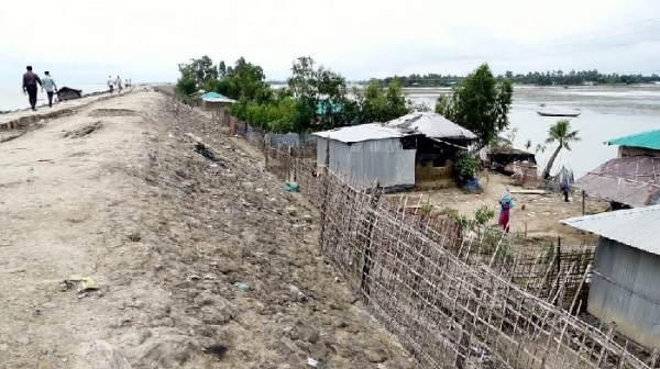 Embankment under construction at a cost of Tk 100 crore