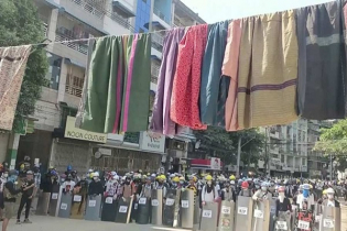 Myanmar protesters string up women`s clothes for protection