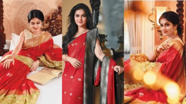 Beauty queen Mithila in Red Saree, becomes a model for Durga Puja