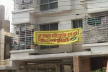 Innovative protest of house owner against hydraulic horn