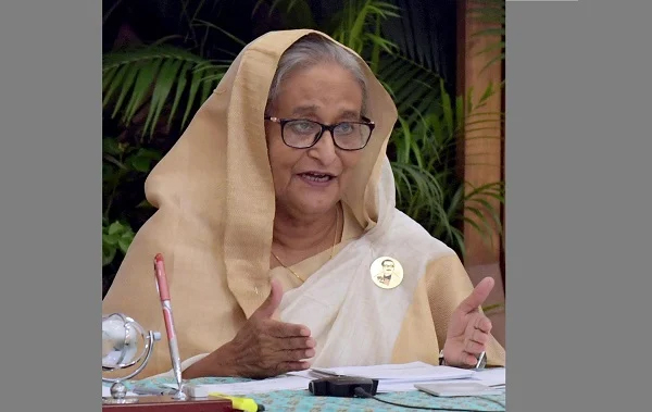 Prime Minister Sheikh Hasina was addressing the inauguration ceremony of newly built Chief Judicial Magistrate Court Building in Dhaka through video conferencing from her official residence Ganabhaban. - PID