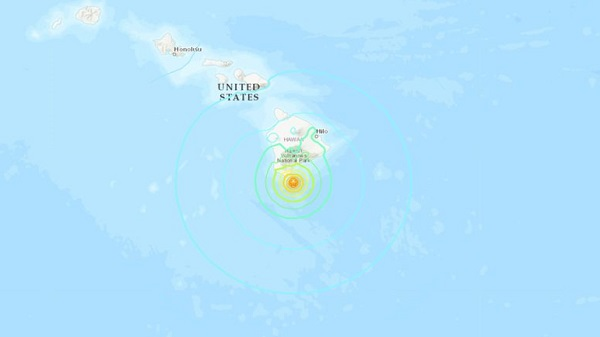 An earthquake with a magnitude of 6.2 jolted south of the Hawaii Island on Sunday night; Photo: Collected