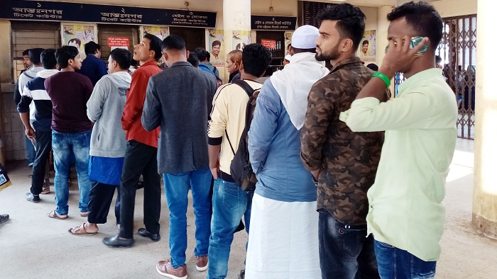 Crowd at the ticket counter at Bhairab station