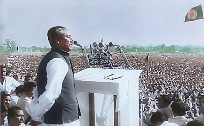 Father of the Nation Bangabandhu Sheikh Mujibur Rahman gave a speech in front of millions of Bangalees at the historic 'Race Course Maidan', now Suhrawardy Udyan, in the capital on March 7; Photo: Collected