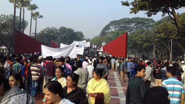 The crowd of people at the Martyred Intellectuals Memorial; Photo: Daily Bangladesh